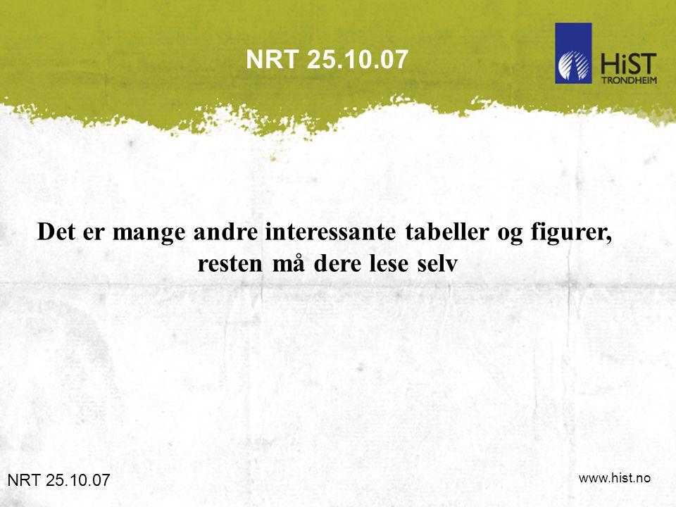 www.hist.no NRT 25.10.07 Det er mange andre interessante tabeller og figurer, resten må dere lese selv NRT 25.10.07