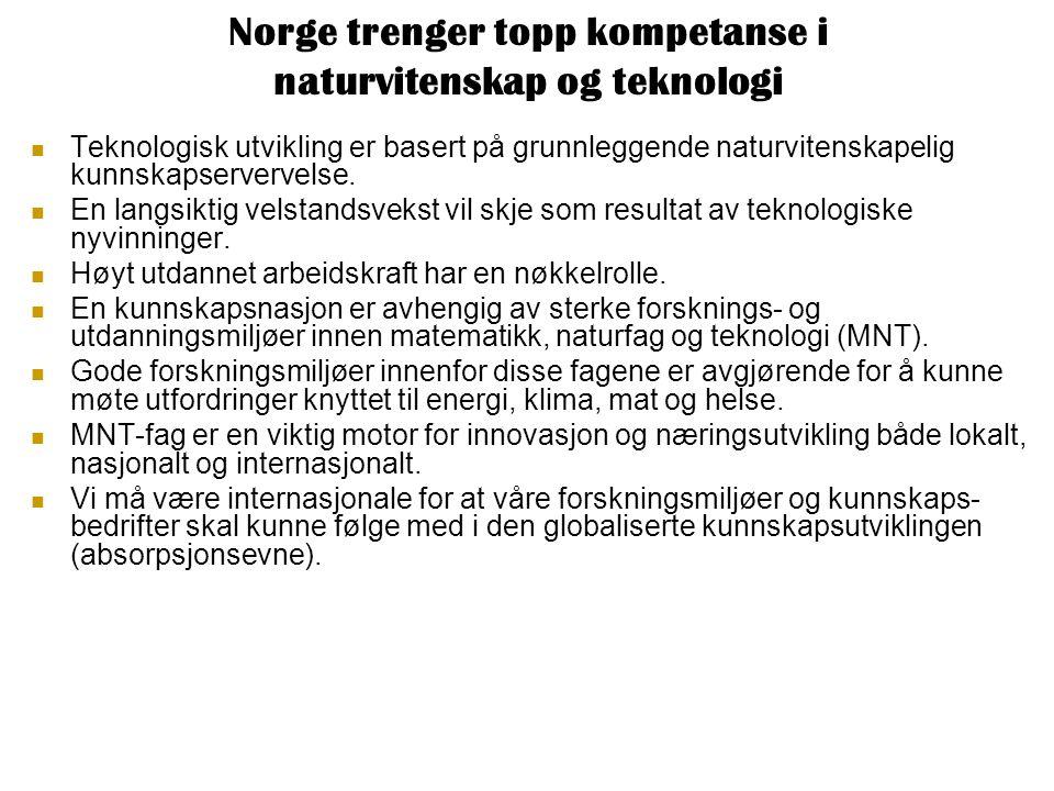 Norge trenger topp kompetanse i naturvitenskap og teknologi Teknologisk utvikling er basert på grunnleggende naturvitenskapelig kunnskapservervelse.