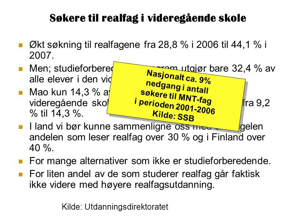 Søkere til realfag i videregående skole Økt søkning til realfagene fra 28,8 % i 2006 til 44,1 % i 2007.