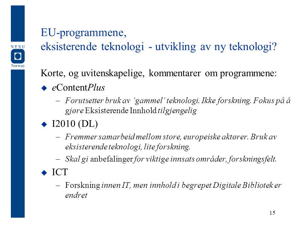 EU-programmene, eksisterende teknologi - utvikling av ny teknologi.