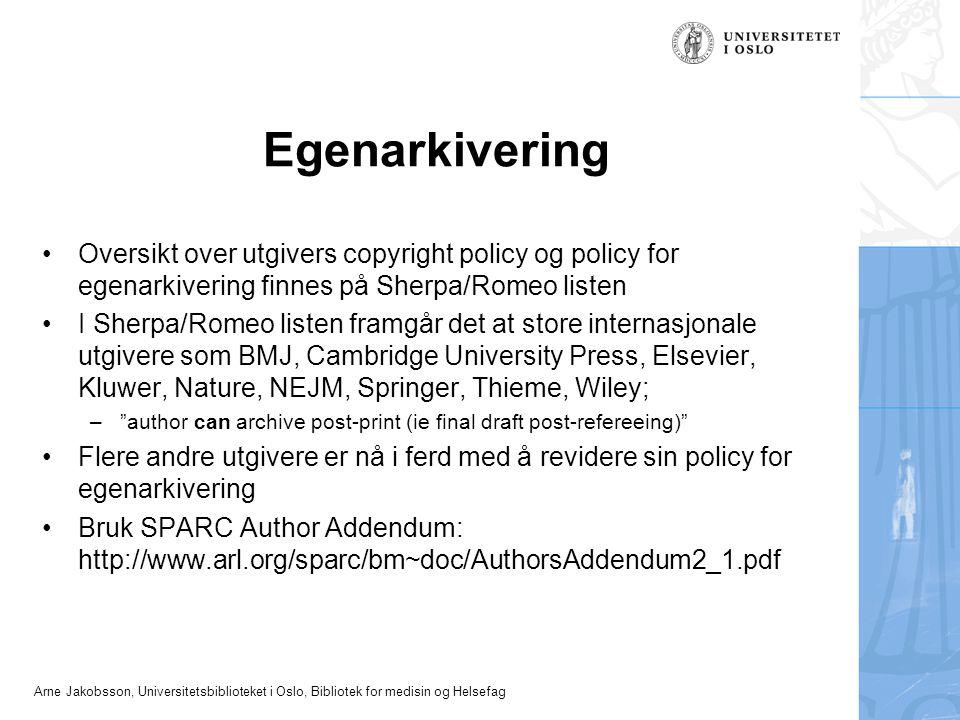 Arne Jakobsson, Universitetsbiblioteket i Oslo, Bibliotek for medisin og Helsefag