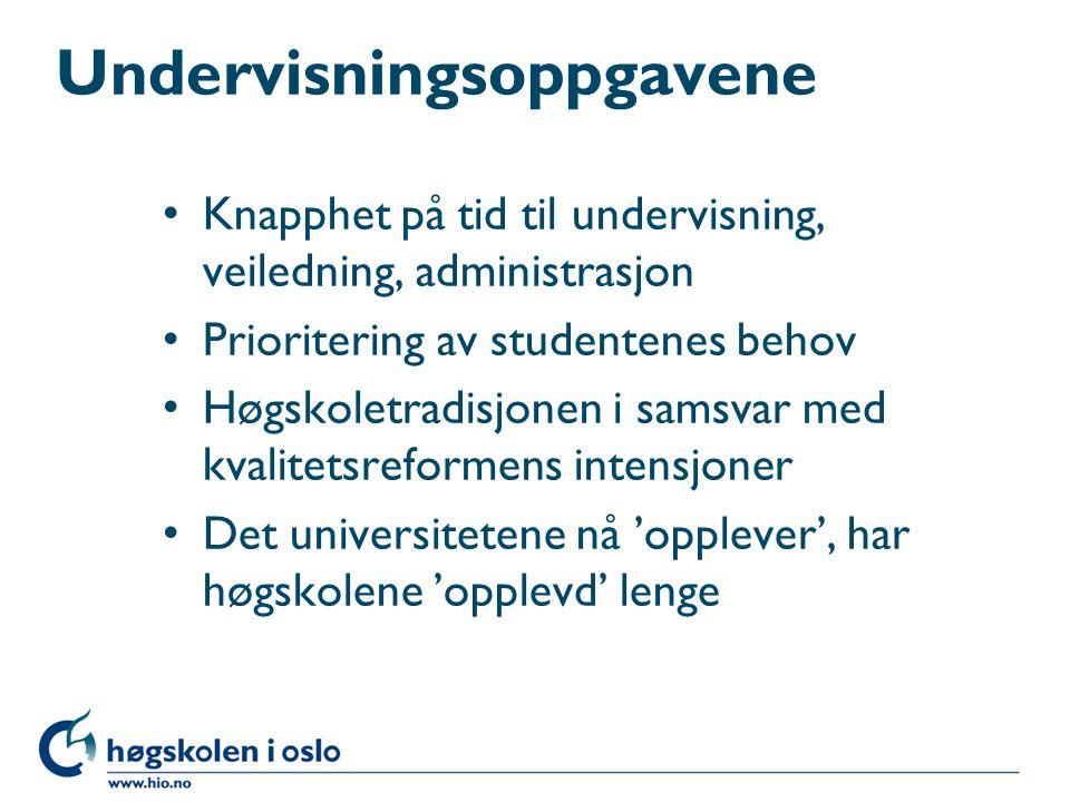 Undervisningsoppgavene Knapphet på tid til undervisning, veiledning, administrasjon Prioritering av studentenes behov Høgskoletradisjonen i samsvar me