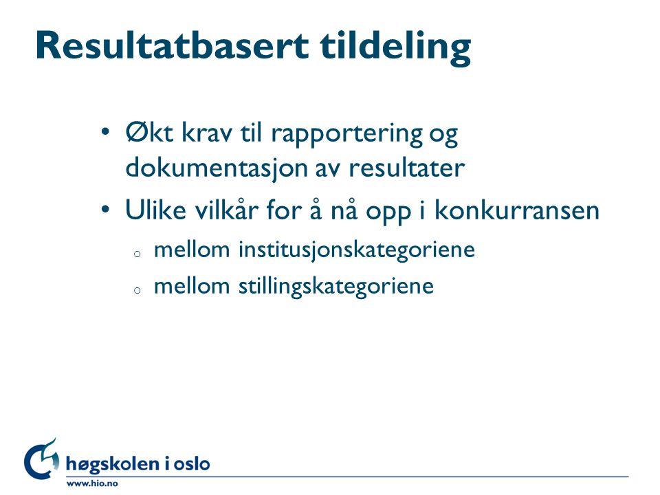 Resultatbasert tildeling Økt krav til rapportering og dokumentasjon av resultater Ulike vilkår for å nå opp i konkurransen o mellom institusjonskatego