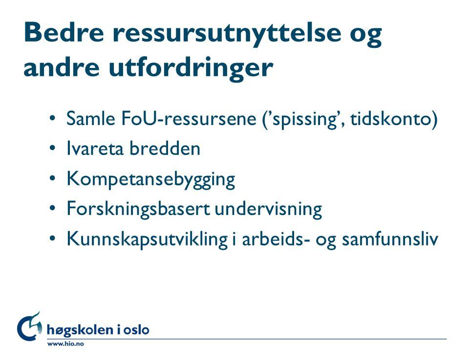 Bedre ressursutnyttelse og andre utfordringer Samle FoU-ressursene ('spissing', tidskonto) Ivareta bredden Kompetansebygging Forskningsbasert undervis