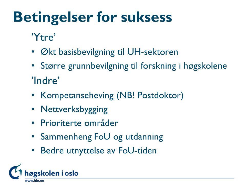 Betingelser for suksess 'Ytre' Økt basisbevilgning til UH-sektoren Større grunnbevilgning til forskning i høgskolene 'Indre' Kompetanseheving (NB.