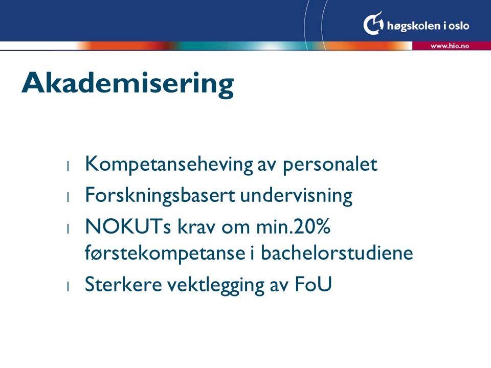 Akademisering l Kompetanseheving av personalet l Forskningsbasert undervisning l NOKUTs krav om min.20% førstekompetanse i bachelorstudiene l Sterkere vektlegging av FoU