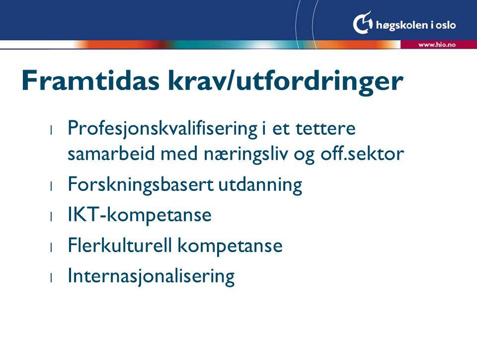 Framtidas krav/utfordringer l Profesjonskvalifisering i et tettere samarbeid med næringsliv og off.sektor l Forskningsbasert utdanning l IKT-kompetanse l Flerkulturell kompetanse l Internasjonalisering