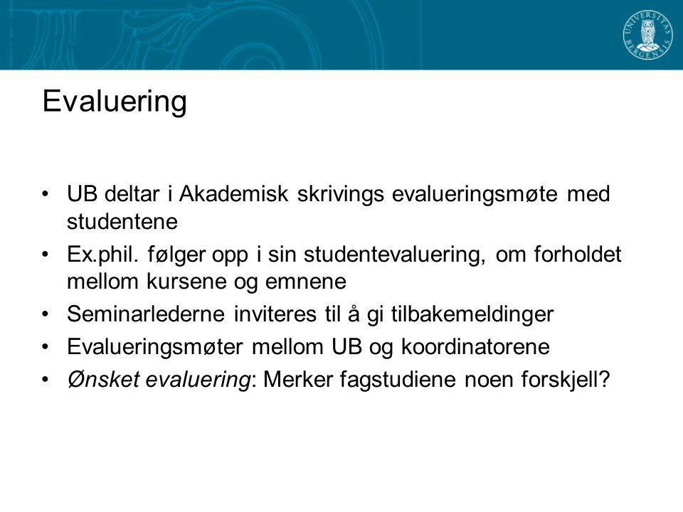 Evaluering UB deltar i Akademisk skrivings evalueringsmøte med studentene Ex.phil.