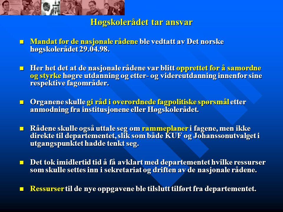 Høgskolerådet tar ansvar Mandat for de nasjonale rådene ble vedtatt av Det norske høgskolerådet 29.04.98.