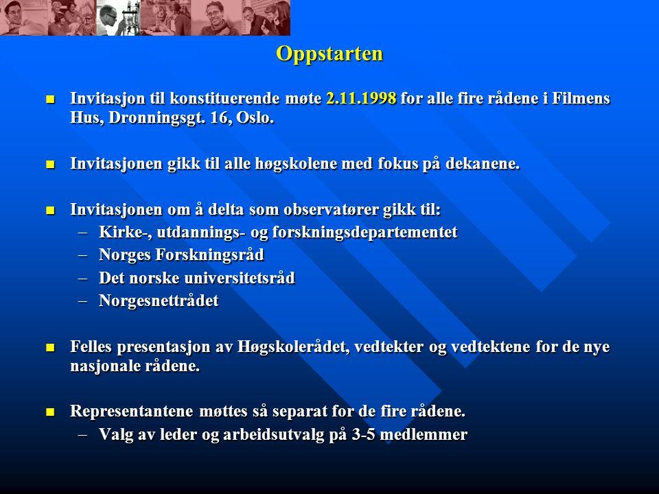 Oppstarten Invitasjon til konstituerende møte 2.11.1998 for alle fire rådene i Filmens Hus, Dronningsgt.