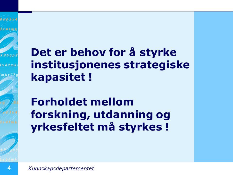 4 Det er behov for å styrke institusjonenes strategiske kapasitet ! Forholdet mellom forskning, utdanning og yrkesfeltet må styrkes !