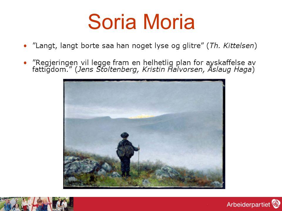 """Soria Moria """"Langt, langt borte saa han noget lyse og glitre"""" (Th. Kittelsen) """"Regjeringen vil legge fram en helhetlig plan for avskaffelse av fattigd"""