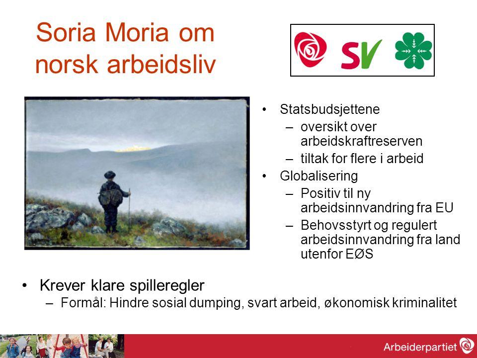 Soria Moria om norsk arbeidsliv Statsbudsjettene –oversikt over arbeidskraftreserven –tiltak for flere i arbeid Globalisering –Positiv til ny arbeidsi
