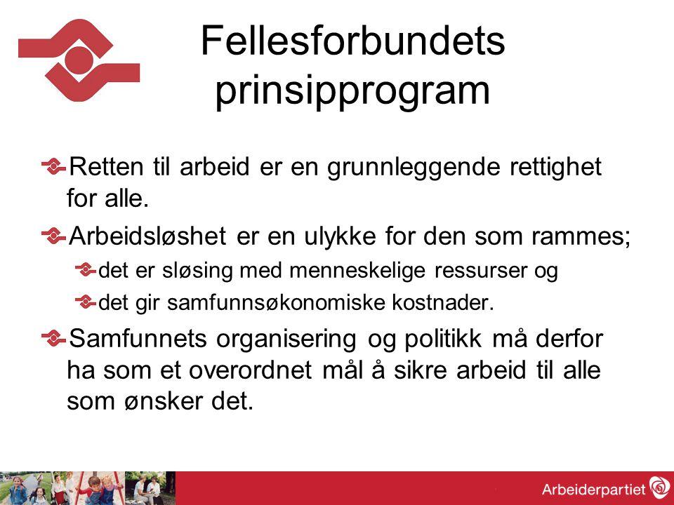 I målet om arbeid for alle legger Fellesforbundet følgende prinsipper og retningslinjer til grunn: Alle menneskers rett til lønnet arbeid.