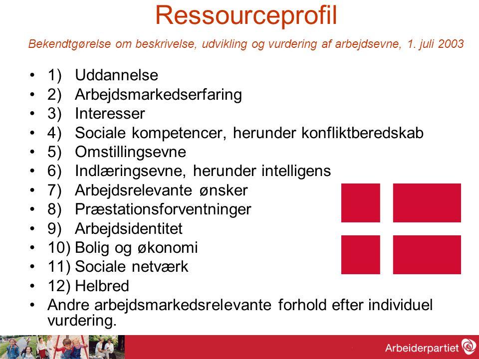 Ressourceprofil Bekendtgørelse om beskrivelse, udvikling og vurdering af arbejdsevne, 1. juli 2003 1) Uddannelse 2) Arbejdsmarkedserfaring 3) Interess