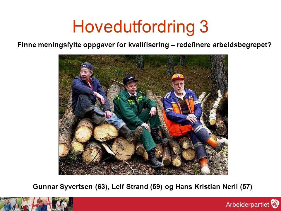 Hovedutfordring 3 Finne meningsfylte oppgaver for kvalifisering – redefinere arbeidsbegrepet? Gunnar Syvertsen (63), Leif Strand (59) og Hans Kristian