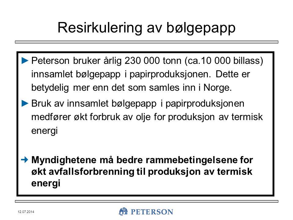 12.07.2014 Resirkulering av bølgepapp ►Peterson bruker årlig 230 000 tonn (ca.10 000 billass) innsamlet bølgepapp i papirproduksjonen. Dette er betyde