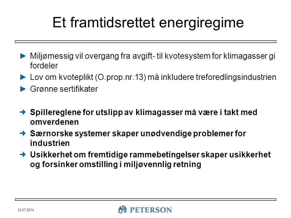 12.07.2014 Et framtidsrettet energiregime ►Miljømessig vil overgang fra avgift- til kvotesystem for klimagasser gi fordeler ►Lov om kvoteplikt (O.prop