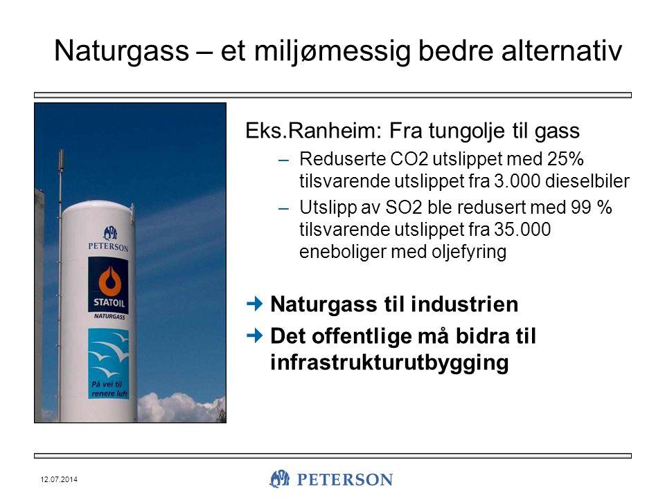 12.07.2014 Naturgass – et miljømessig bedre alternativ Eks.Ranheim: Fra tungolje til gass –Reduserte CO2 utslippet med 25% tilsvarende utslippet fra 3