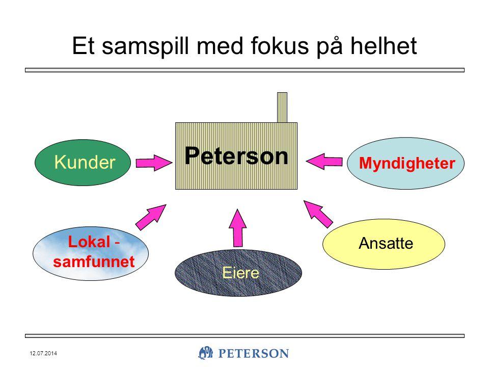 12.07.2014 Et samspill med fokus på helhet Peterson Kunder Lokal - samfunnet Eiere Ansatte Myndigheter