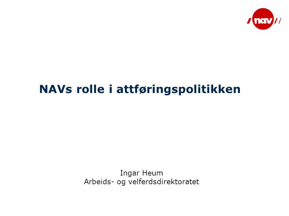 NAVs rolle i attføringspolitikken Ingar Heum Arbeids- og velferdsdirektoratet