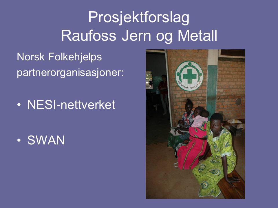 Prosjektforslag Raufoss Jern og Metall Norsk Folkehjelps partnerorganisasjoner: NESI-nettverket SWAN