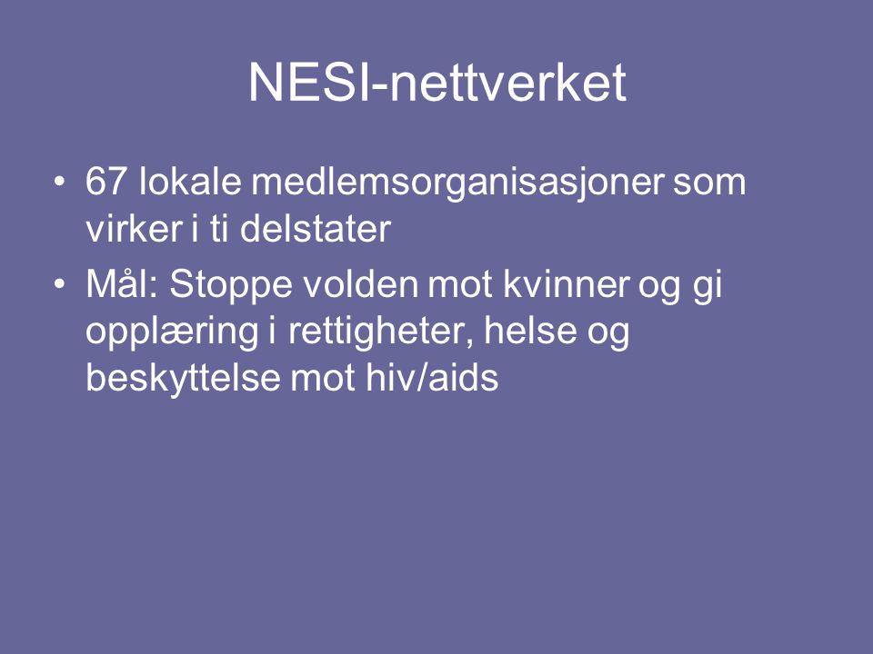 NESI-nettverket 67 lokale medlemsorganisasjoner som virker i ti delstater Mål: Stoppe volden mot kvinner og gi opplæring i rettigheter, helse og besky
