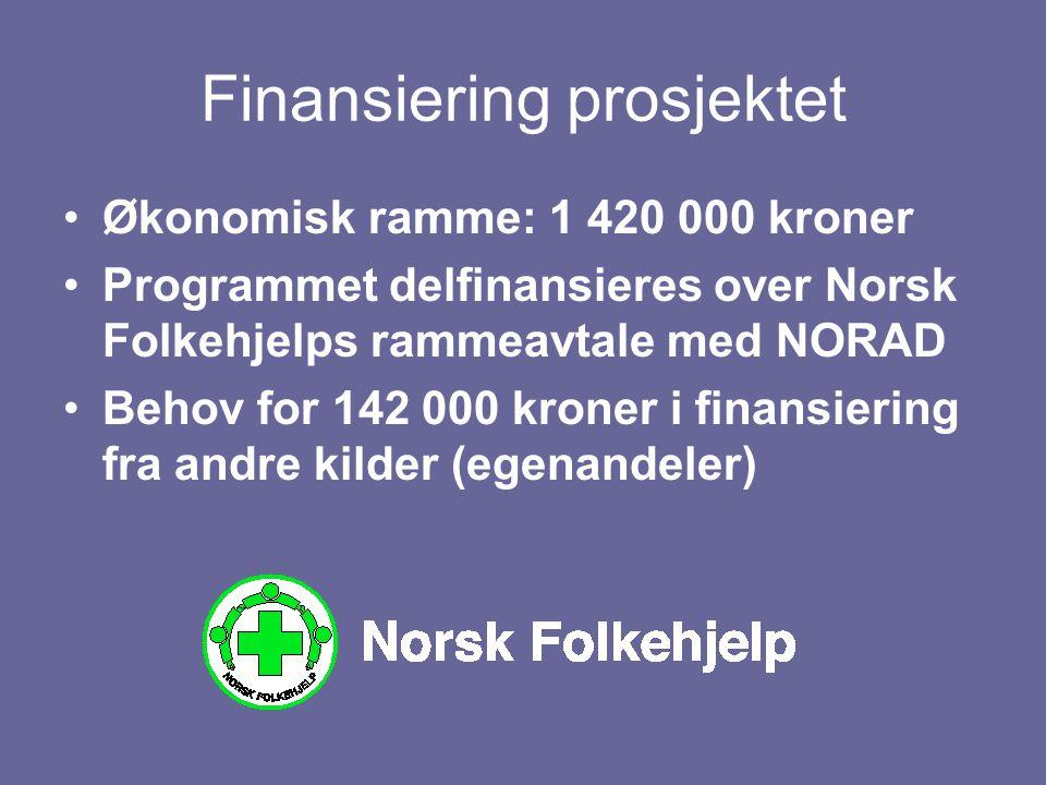 Finansiering prosjektet Økonomisk ramme: 1 420 000 kroner Programmet delfinansieres over Norsk Folkehjelps rammeavtale med NORAD Behov for 142 000 kro