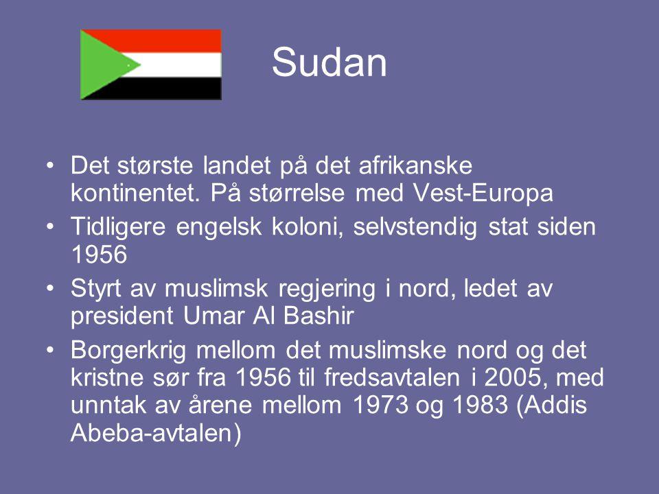 Sudan Det største landet på det afrikanske kontinentet. På størrelse med Vest-Europa Tidligere engelsk koloni, selvstendig stat siden 1956 Styrt av mu