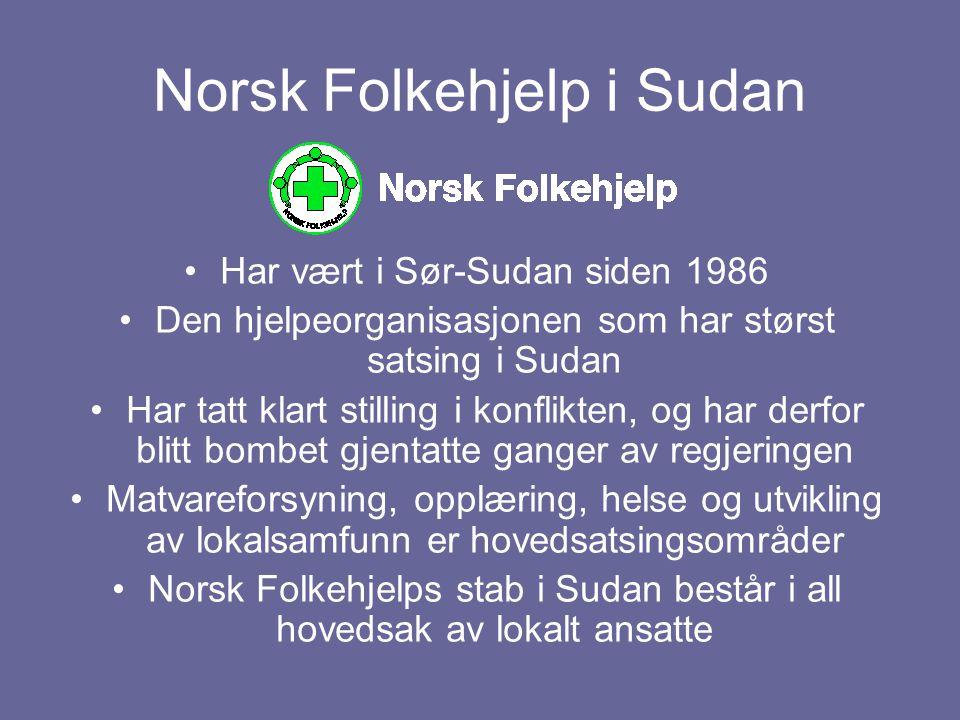 Norsk Folkehjelp i Sudan Har vært i Sør-Sudan siden 1986 Den hjelpeorganisasjonen som har størst satsing i Sudan Har tatt klart stilling i konflikten,