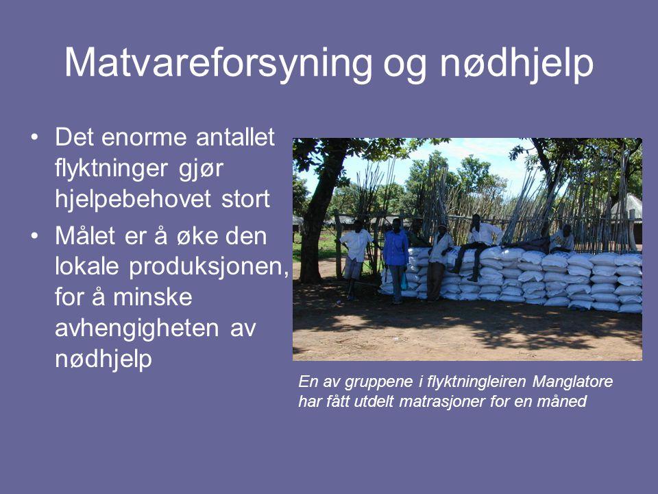 Matvareforsyning og nødhjelp Det enorme antallet flyktninger gjør hjelpebehovet stort Målet er å øke den lokale produksjonen, for å minske avhengighet