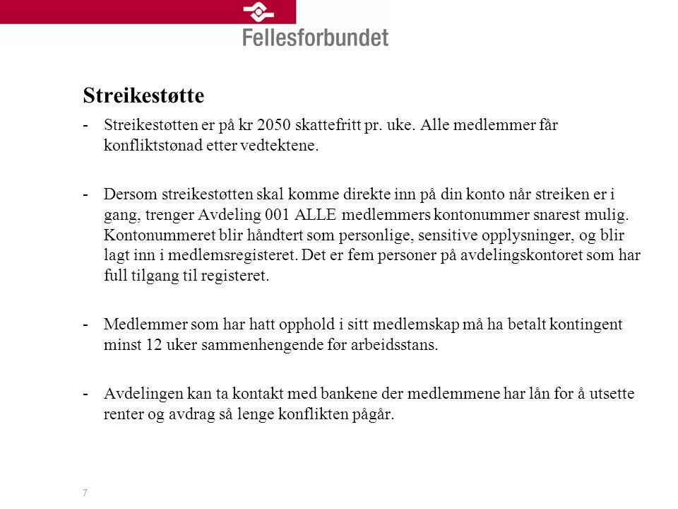 7 Streikestøtte -Streikestøtten er på kr 2050 skattefritt pr.