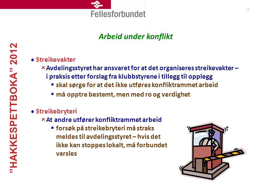 """""""HAKKESPETTBOKA"""" 2012 13 Arbeid under konflikt  Streikevakter  Avdelingsstyret har ansvaret for at det organiseres streikevakter – i praksis etter f"""
