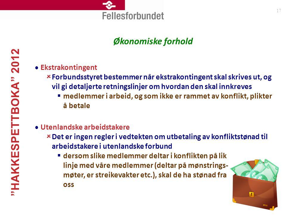 """""""HAKKESPETTBOKA"""" 2012 17 Økonomiske forhold  Ekstrakontingent  Forbundsstyret bestemmer når ekstrakontingent skal skrives ut, og vil gi detaljerte r"""