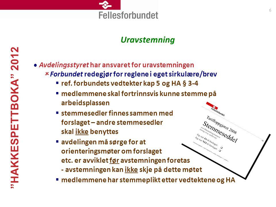 """""""HAKKESPETTBOKA"""" 2012 6 Uravstemning  Avdelingsstyret har ansvaret for uravstemningen  Forbundet redegjør for reglene i eget sirkulære/brev  ref. f"""