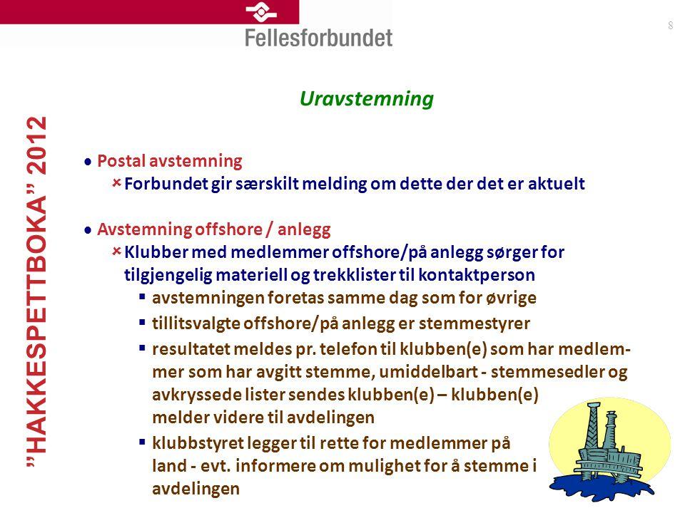 """""""HAKKESPETTBOKA"""" 2012 8 Uravstemning  Postal avstemning  Forbundet gir særskilt melding om dette der det er aktuelt  Avstemning offshore / anlegg """