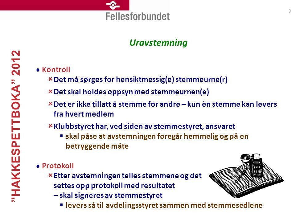 """""""HAKKESPETTBOKA"""" 2012 9 Uravstemning  Kontroll  Det må sørges for hensiktmessig(e) stemmeurne(r)  Det skal holdes oppsyn med stemmeurnen(e)  Det e"""