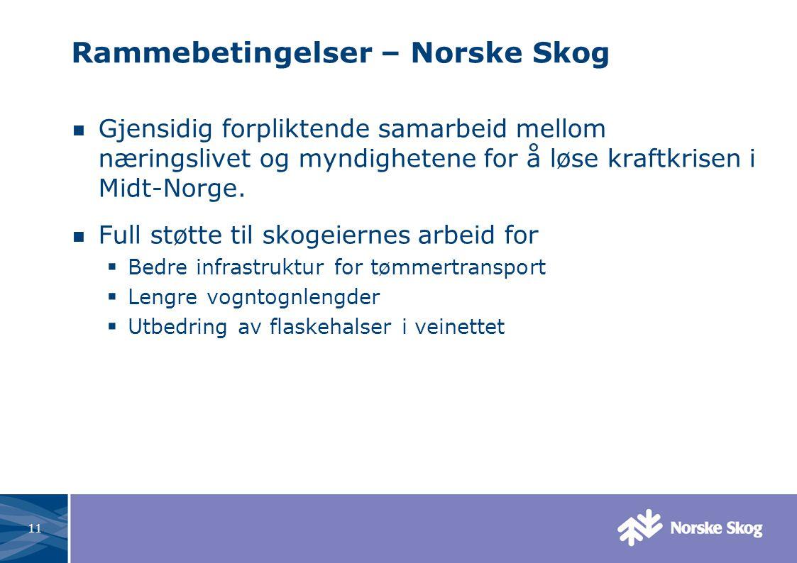 11 Rammebetingelser – Norske Skog Gjensidig forpliktende samarbeid mellom næringslivet og myndighetene for å løse kraftkrisen i Midt-Norge.