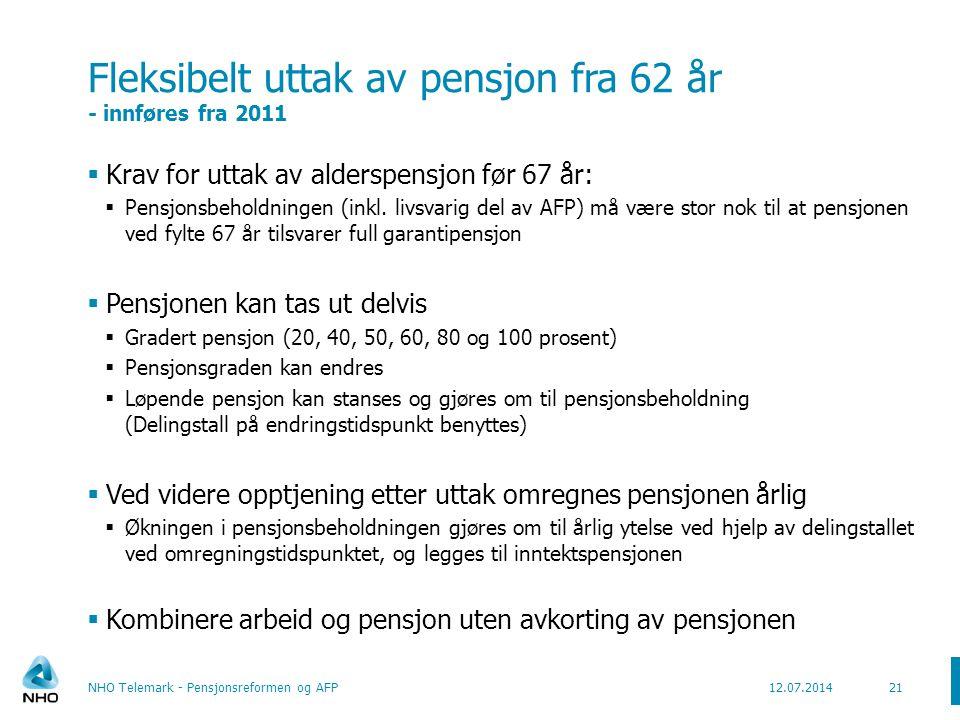 Årlig pensjon øker med fortsatt arbeid og senere uttak (Født 1963 – lønn 6G – starter i jobb 22 år gammel) 22 Kilde: Arbeids- og inkluderingsdepartementet NHO Telemark - Pensjonsreformen og AFP12.07.2014