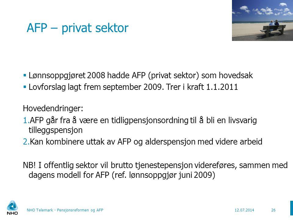 Dagens AFP modell NHO Telemark - Pensjonsreformen og AFP27 AFP 67 år livsvarig Alderspensjon fra folketrygden Tjenestepensjon* 77 år 62 år Lønn *) Evt.