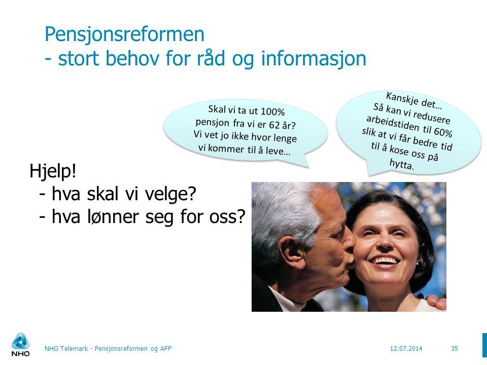 Pensjonsreformen og seniortiltak 36NHO Telemark - Pensjonsreformen og AFP12.07.2014