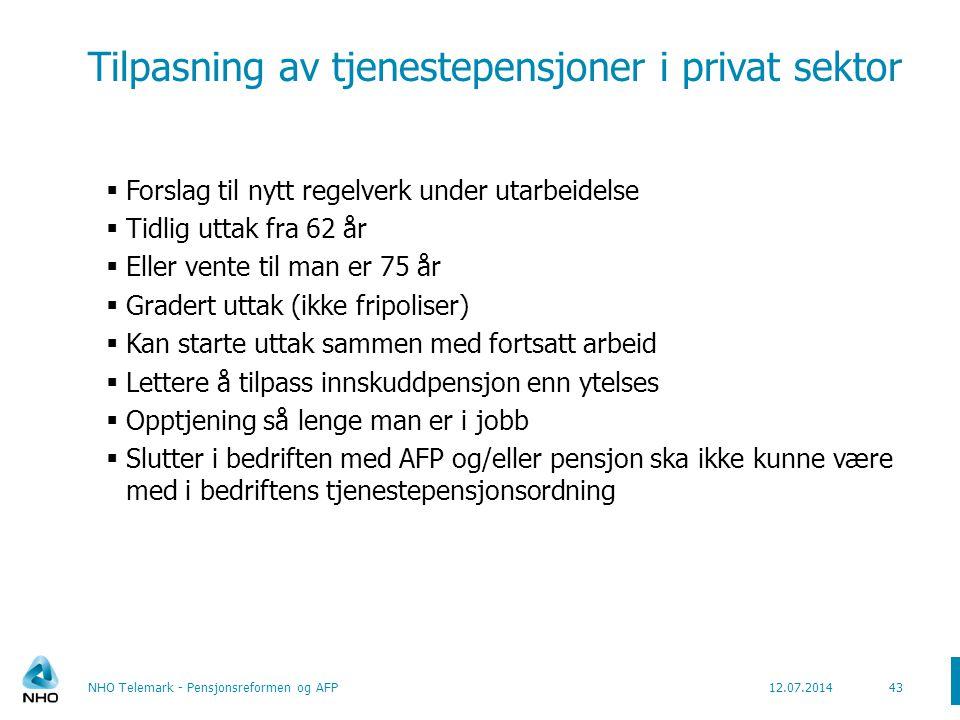 Videre arbeid med pensjonsreformen  Uførepensjon  Lovforslag skal legges frem i 2010  Etterlattepensjon  Foreløpig sagt lite om 44NHO Telemark - Pensjonsreformen og AFP12.07.2014
