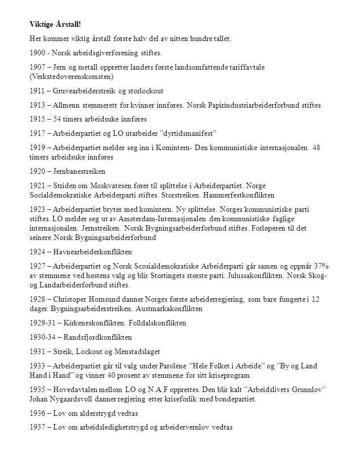 Viktige Årstall! Her kommer viktig årstall første halv del av nitten hundre tallet. 1900 - Norsk arbeidsgiverforening stiftes. 1907 – Jern og metall o