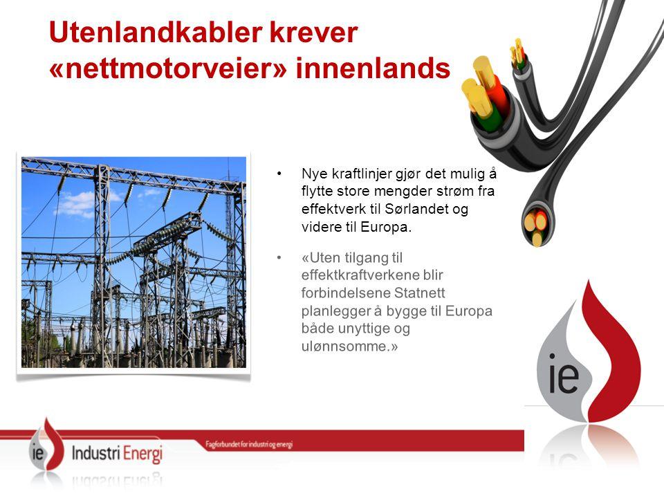 Utenlandkabler krever «nettmotorveier» innenlands Nye kraftlinjer gjør det mulig å flytte store mengder strøm fra effektverk til Sørlandet og videre til Europa.