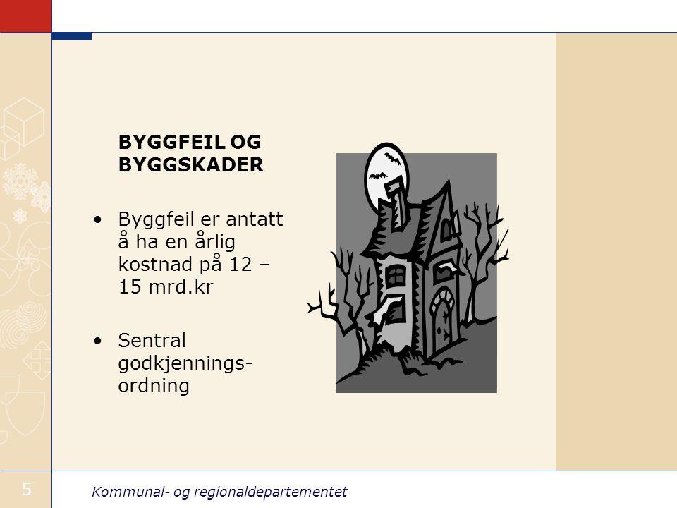 Kommunal- og regionaldepartementet 5 BYGGFEIL OG BYGGSKADER Byggfeil er antatt å ha en årlig kostnad på 12 – 15 mrd.kr Sentral godkjennings- ordning