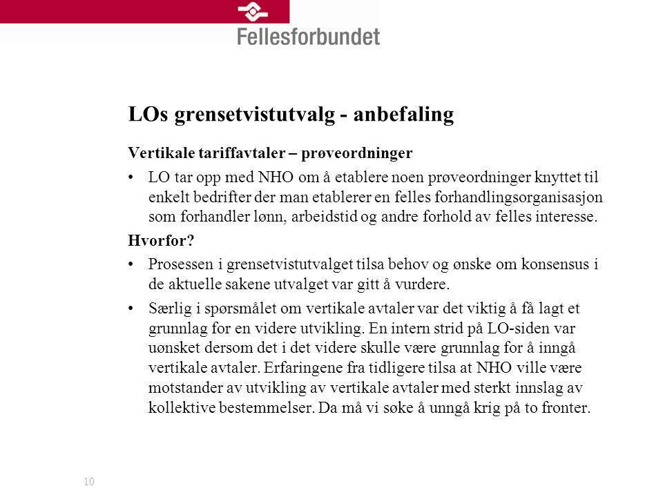 LOs grensetvistutvalg - anbefaling 10 Vertikale tariffavtaler – prøveordninger LO tar opp med NHO om å etablere noen prøveordninger knyttet til enkelt