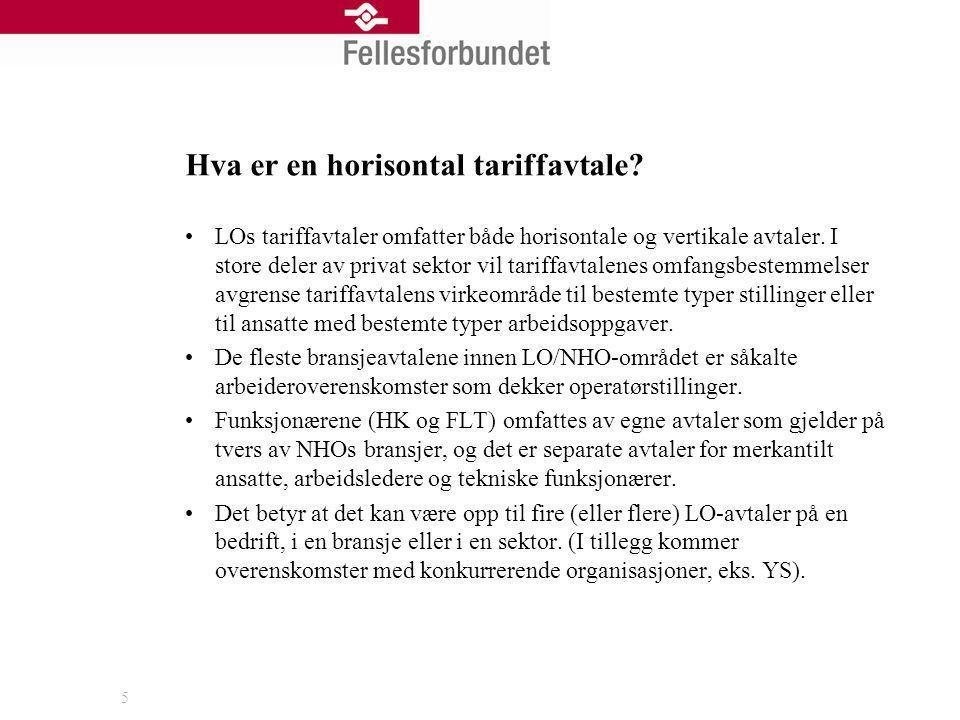 Hva er en horisontal tariffavtale? LOs tariffavtaler omfatter både horisontale og vertikale avtaler. I store deler av privat sektor vil tariffavtalene