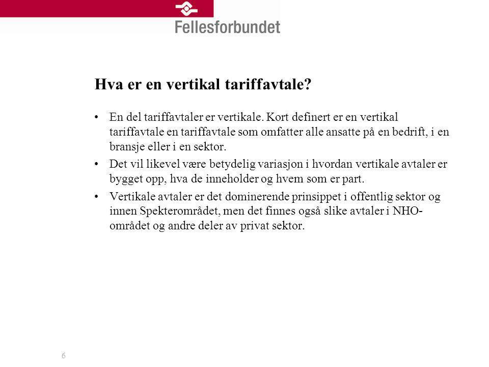 Hva er en vertikal tariffavtale? En del tariffavtaler er vertikale. Kort definert er en vertikal tariffavtale en tariffavtale som omfatter alle ansatt