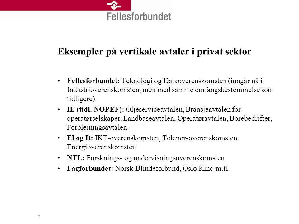 Eksempler på vertikale avtaler i privat sektor Fellesforbundet: Teknologi og Dataoverenskomsten (inngår nå i Industrioverenskomsten, men med samme omf