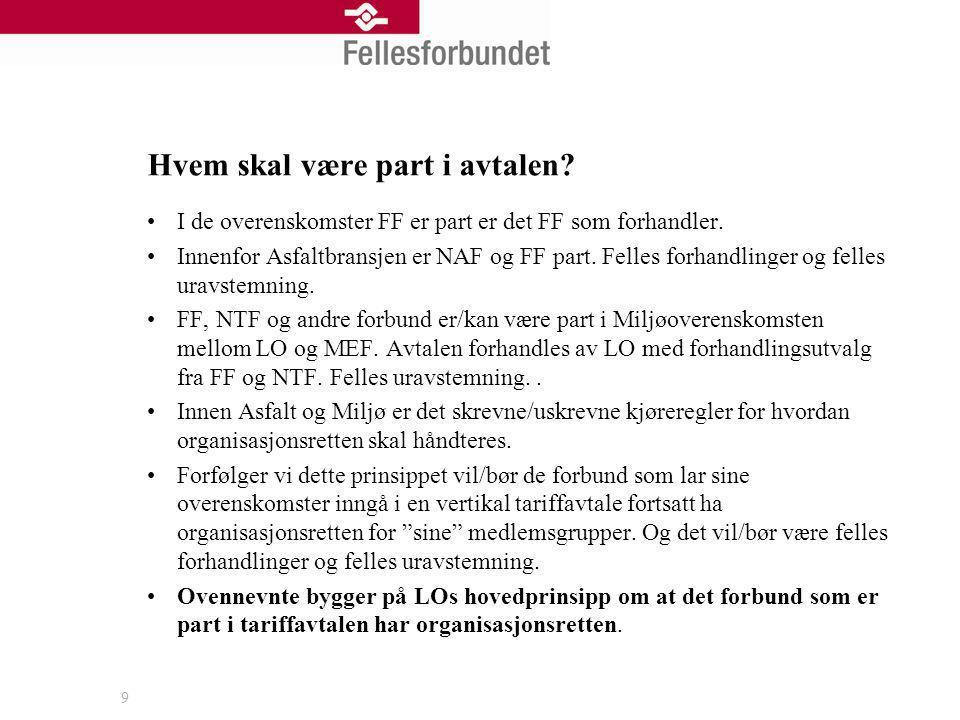 Hvem skal være part i avtalen? I de overenskomster FF er part er det FF som forhandler. Innenfor Asfaltbransjen er NAF og FF part. Felles forhandlinge